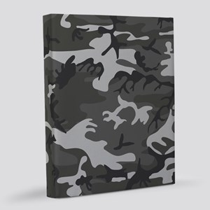 Charcoal Gray Camo Pattern 8x10 Canvas Print