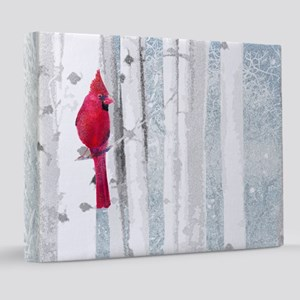 Red Cardinal Bird Snow Birch Trees 8x10 Canvas Pri