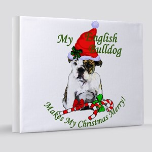 english bulldog christmas 2 8x10 Canvas Print