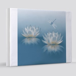 Blue Lotus and Dragonfly 8x10 Canvas Print