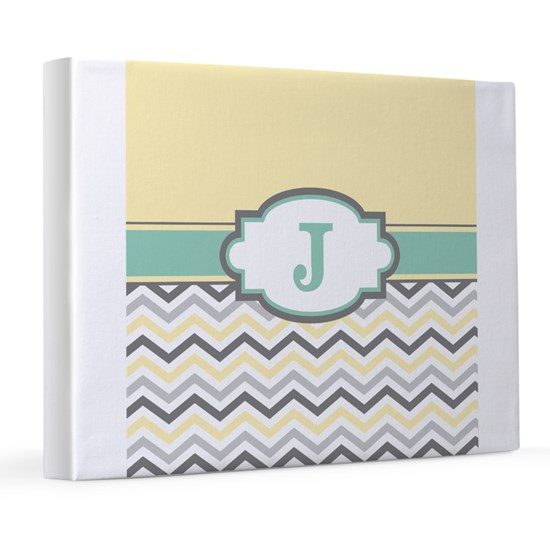 Yellow Gray Mint Chevron Monogram