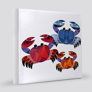 Blue & Red Mosaic Crab Trio  12x12 Canvas Print