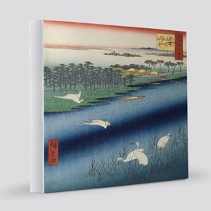 Vintage Japanese painting of cranes 12x12 Canvas P