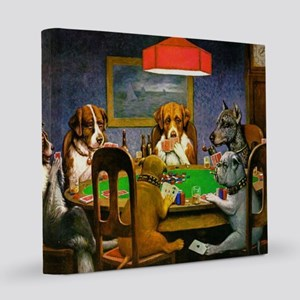 Dogs Playing Poker 12x12 Canvas Print