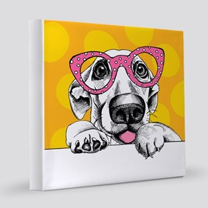 Hipster Dog  12x12 Canvas Print