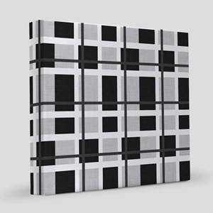 Black and Gray Plaid 12x12 Canvas Print