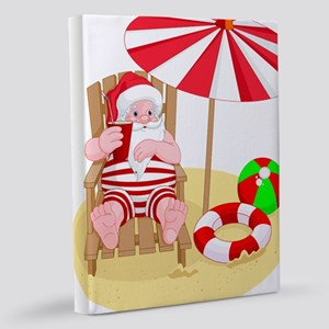 beach santa claus 11x14 Canvas Print