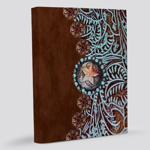 Western turquoise tooled leathe 11x14 Canvas Print