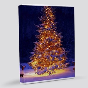 Christmas Tree With Lights 11x14 Canvas Print