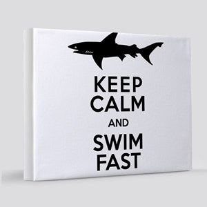 Sharks! Keep Calm and Swim Fast 11x14 Canvas Print