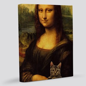 Monalisa with cat 11x14 Canvas Print