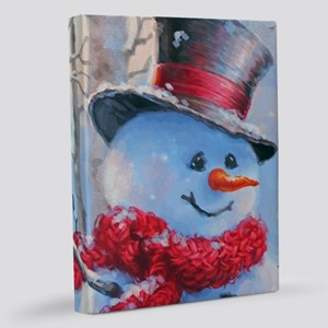 Snowman in the Woods 11x14 Canvas Print