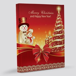 Christmas Wishes,Snowman And Ca 11x14 Canvas Print