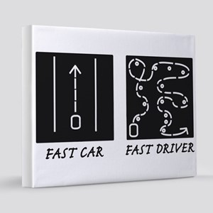 FastCarFastDriverTestDesign 16x20 Canvas Print