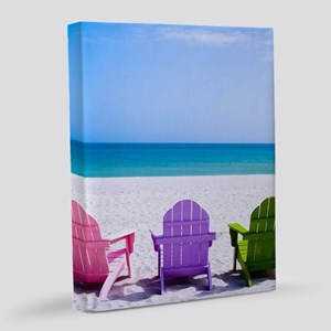 Lounge Chairs On Beach 16x20 Canvas Print