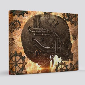 Awesome steampunk Skull with gears  16x20 Canvas P
