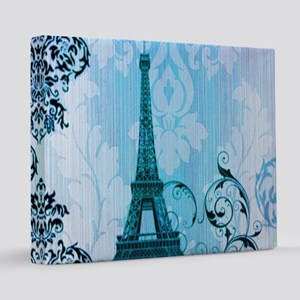 blue damask paris eiffel tower 16x20 Canvas Print