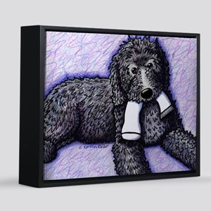 Black Doodle With Sock 16x20 Canvas Print