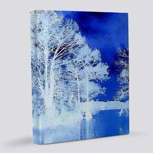 Wintry Lake Scene 20x24 Canvas Print
