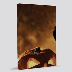 Halloween Pumpkins And A Crow 20x30 Canvas Print