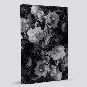 Floral Grey Roses 20x30 Canvas Print