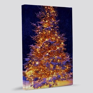 Christmas Tree With Lights 20x30 Canvas Print