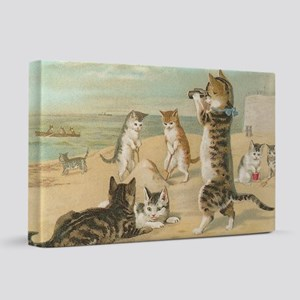 Cats at the Beach, Vintage Art Poster 20x30 Canvas