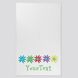 Personalize Flowers Tea Towel