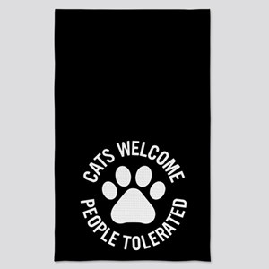 Cats Welcome People Tolerated Tea Towel