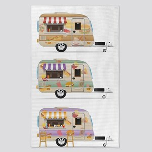 fast food trailer illustration isolated Tea Towel