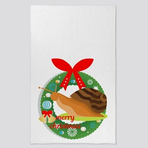 merry christmas snail Tea Towel