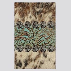 rustic teal western leather Tea Towel