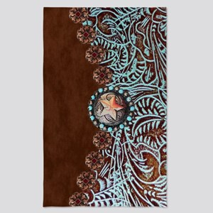 Western turquoise tooled leather Tea Towel