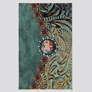 Country Western turquoise leather Tea Towel