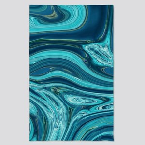 abstract beach turquoise swirls Tea Towel