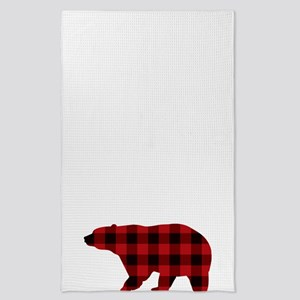 lumberjack buffalo plaid Bear Tea Towel