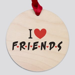 I heart Friends TV Show Maple Round Ornament