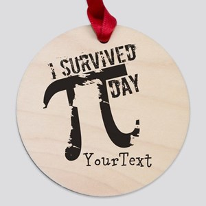 Customize Funny Survived Pi Day Maple Round Orname
