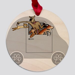 Riding in Cars with Dogs Maple Round Ornament