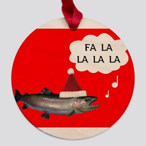 greeting card front salmon fa la la Maple Round Or