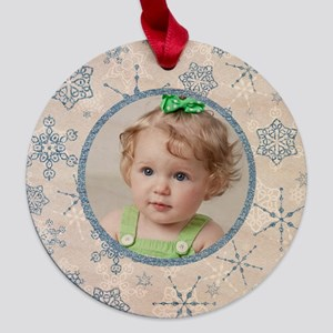 Elegant Blue and Silver Snowf Maple Round Ornament