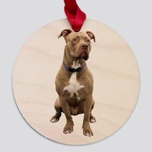Pit Bull (brown) Maple Round Ornament