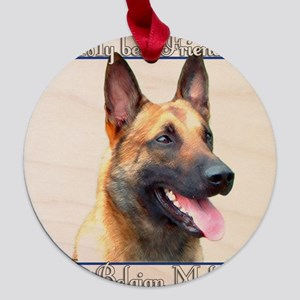 BelgianMalBestFriend2 Maple Round Ornament