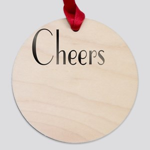 Cheers Maple Round Ornament