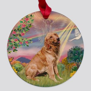 TILE-CloudStar-Gold-Banj Maple Round Ornament