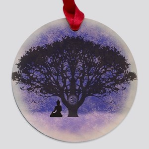 Buddha Beneath the Bodhi Tree-Light Maple Round Or