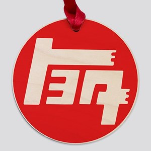 TEQ logo red large Maple Round Ornament