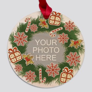 Personalized Christmas Maple Round Ornament