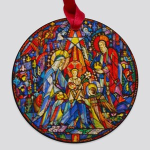 Stained Glass Style Nativity Maple Round Ornament