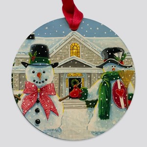 American Snowman Gothic Maple Round Ornament